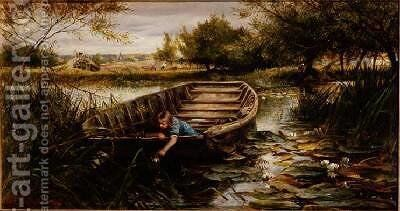 Picking Waterlilies by Charles James Lewis - Reproduction Oil Painting