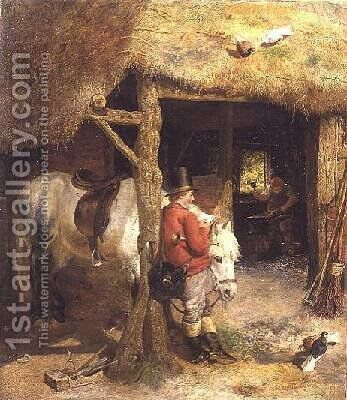 The Postman 1860 by Charles James Lewis - Reproduction Oil Painting