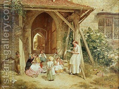 Playing at Schools 1857 by Charles James Lewis - Reproduction Oil Painting