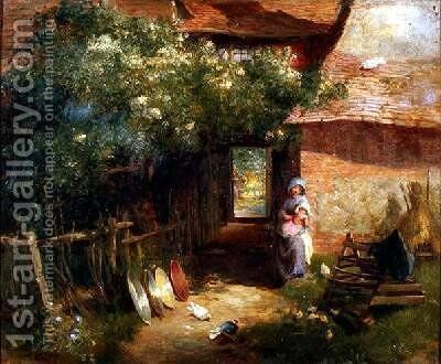 A Cottage Garden by Charles James Lewis - Reproduction Oil Painting