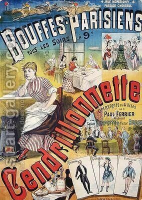 Poster advertising the Operetta Cendrillonnette at the Theatre des Bouffes Parisiens by Charles Levy - Reproduction Oil Painting