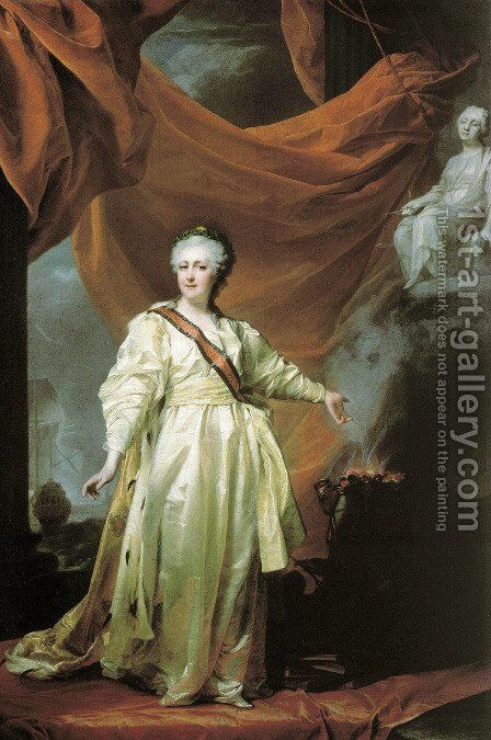 Portrait of Catherine the Great as Lawgiver in the Temple of the Goddess of Justice by Dmitry Levitsky - Reproduction Oil Painting