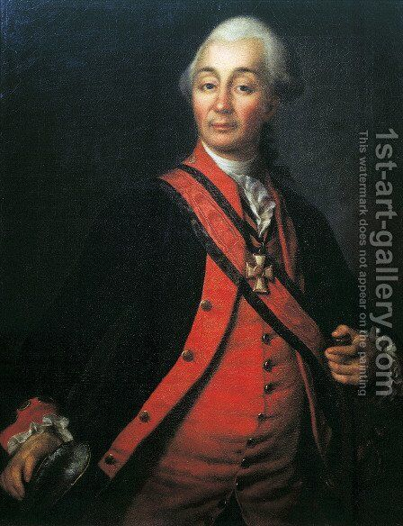 Portrait of Field Marshal Generalissimo Count Aleksandr Vasilievich Suvorov 1729-1800 by Dmitry Levitsky - Reproduction Oil Painting
