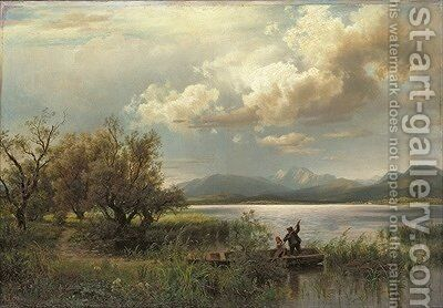 Bayern Landscape by August Wilhelm Leu - Reproduction Oil Painting