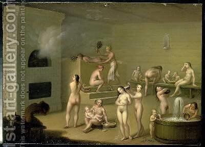 Russian Bath by I. Letunov - Reproduction Oil Painting