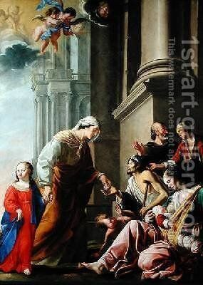 St Anne Accompanied by the Virgin Mary Giving Alms by Jacques de Letin - Reproduction Oil Painting