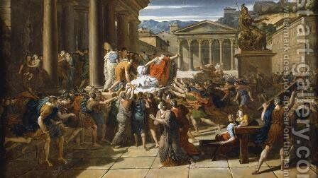 The Death of Caesar by Guillaume Guillon Lethiere - Reproduction Oil Painting