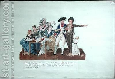 Citizens contributing their assignats to equip a young man for war by Brothers Lesueur - Reproduction Oil Painting