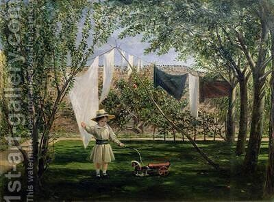 A Garden Scene with a boy the artists son George Dunlop Leslie by Charles Robert Leslie - Reproduction Oil Painting