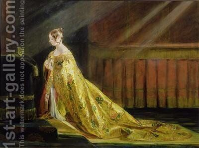 Queen Victoria in Her Coronation Robe by Charles Robert Leslie - Reproduction Oil Painting