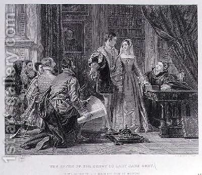 The Offer of the Crown to Lady Jane Grey 1537-54 by Charles Robert Leslie - Reproduction Oil Painting