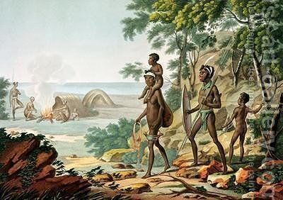 Port Jackson New Holland Aboriginal Family by (after) Leroy, Sebastien (Denis Sebastien) - Reproduction Oil Painting