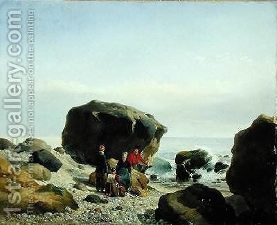 Beach Scene with Figures by Leopold Leprince - Reproduction Oil Painting