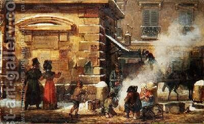 French street scene by Auguste-Xavier Leprince - Reproduction Oil Painting