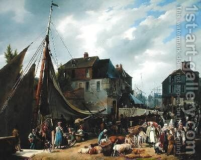 Loading Livestock onto the Passager in the Port of Honfleur by Auguste-Xavier Leprince - Reproduction Oil Painting