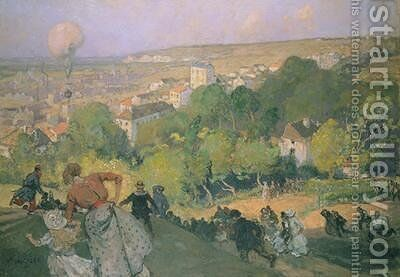 Balloon Landing at Pre St-Gervais by Auguste Lepere - Reproduction Oil Painting