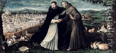The meeting of St Francis of Assisi and St Dominic in Rome by Angiola Leone - Reproduction Oil Painting