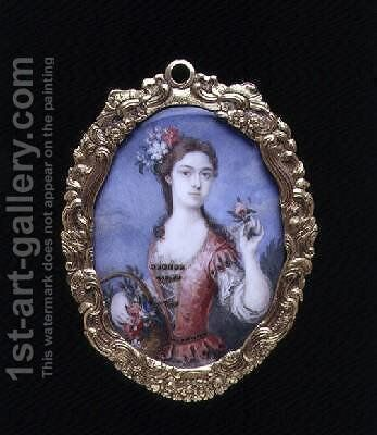 Portrait miniature of an unknown lady as Flora by Bernard III Lens - Reproduction Oil Painting