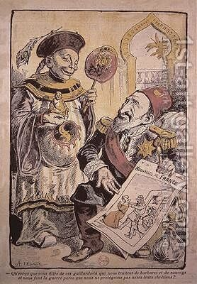 Cartoon indicting the hypocrisy and double standards of Western Europe in their criticism and behaviour towards China and the Ottoman Empire by A Lemot - Reproduction Oil Painting