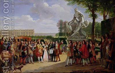 Louis XIV 1638-1715 Dedicating Pugets Milo of Crotona in the Gardens at Versailles by Anicet-Charles-Gabriel Lemonnier - Reproduction Oil Painting