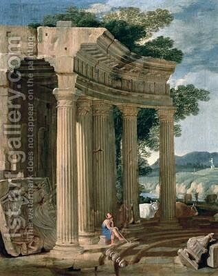 Landscape with ruins and a shepherd by Jean Lemaire - Reproduction Oil Painting