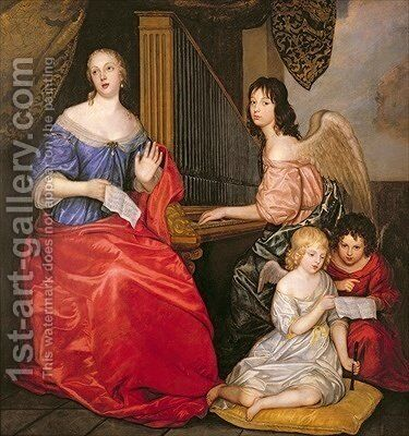 Francoise Louise 1644-1710 Duchess of La Valliere with her Children as Angels by Sir Peter Lely - Reproduction Oil Painting