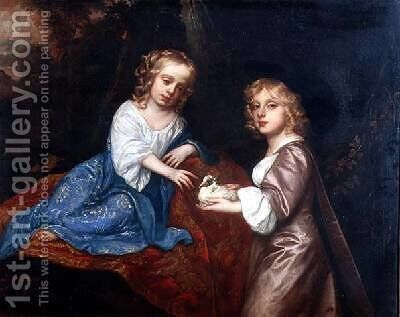 Double Portrait of Charles Dormer 1652-73 Viscount Ascott and his sister Lady Elizabeth Dormer 1653-77 by Sir Peter Lely - Reproduction Oil Painting