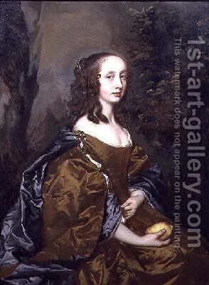 Portrait of a lady with a lemon by Sir Peter Lely - Reproduction Oil Painting