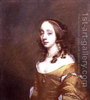 Portrait of a lady from the Popham family by Sir Peter Lely - Reproduction Oil Painting