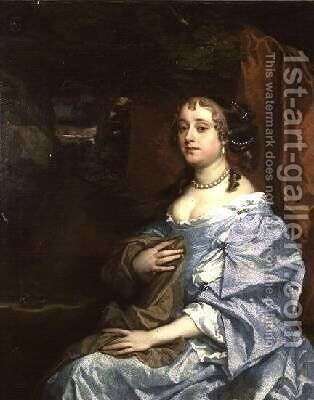 Lady Kiligrew Hesse in a blue dress by Sir Peter Lely - Reproduction Oil Painting