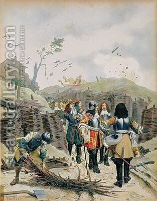 Louis XIV 1638-1715 visiting the trenches in Lille by Maurice Leloir - Reproduction Oil Painting