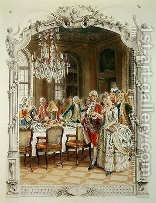 Elegant meal during the Eighteenth century by Maurice Leloir - Reproduction Oil Painting