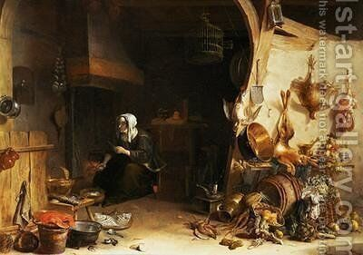 A Kitchen Interior with a Servant Girl Surrounded by Utensils Vegetables and a Lobster on a Plate by Cornelis van Lelienbergh - Reproduction Oil Painting