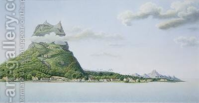View of the Island of Bora Bora by (after) Lejeune and Chazal, Antoine - Reproduction Oil Painting
