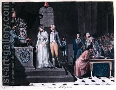 Mayor conducting a Republican Marriage during the period of the French Revolution by (after) Legrand - Reproduction Oil Painting