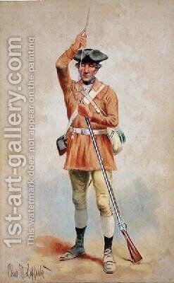 Uniforms of the American Revolution 1777 Private Field Dress from the 1st Georgia Continental Infantry by Charles MacKubin Lefferts - Reproduction Oil Painting