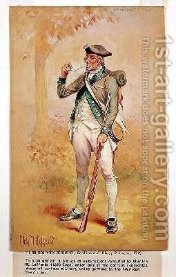 Uniform of a Private of the Continental Line in the 3rd New York Regiment in 1775 by Charles MacKubin Lefferts - Reproduction Oil Painting