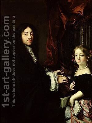Portrait of Charles Couperin 1638-79 and the Daughter of the Artist 1665-79 by Claude Lefebvre - Reproduction Oil Painting