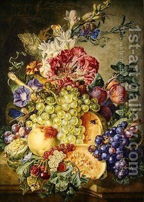 Still life with fruit and flowers by Gerrit Van Leeuwen - Reproduction Oil Painting