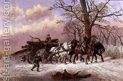 Logging in the Snow by Alexis de Leeuw - Reproduction Oil Painting