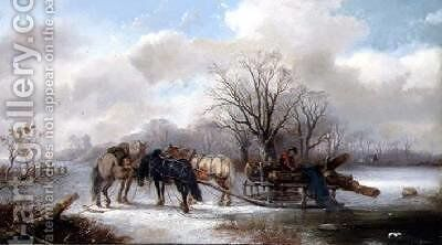 Gathering Logs in a Winter Landscape by Alexis de Leeuw - Reproduction Oil Painting
