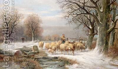 Shepherdess with her Flock in a Winter Landscape by Alexis de Leeuw - Reproduction Oil Painting