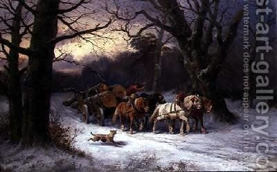 Horses Pulling a Log Cart in a Winter Landscape by Alexis de Leeuw - Reproduction Oil Painting