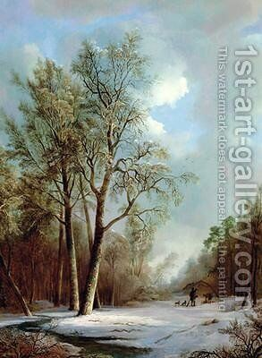 Snow Scene 2 by Alexis de Leeuw - Reproduction Oil Painting