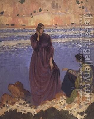 Two Girls by the Shore by Derwent Lees - Reproduction Oil Painting