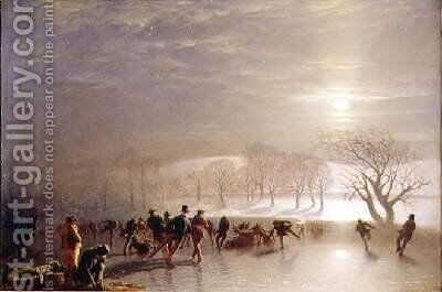 Skaters Duddingston Loch by Moonlight by Charles Lees - Reproduction Oil Painting