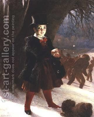 Returning from School a Winters Day by Charles Lees - Reproduction Oil Painting
