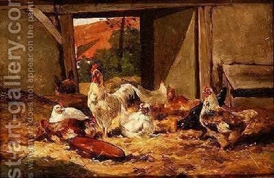 Chickens in a Barn 2 by Cornelius van Leeputten - Reproduction Oil Painting