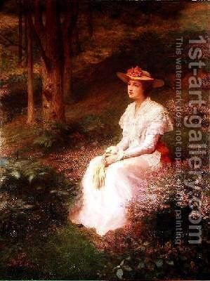 Elegant Lady Sitting in Woodlands by James R. Lee - Reproduction Oil Painting