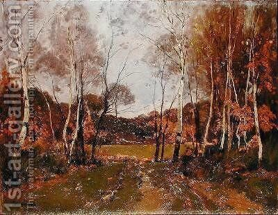 Wooded landscape by Paul Lecomte - Reproduction Oil Painting